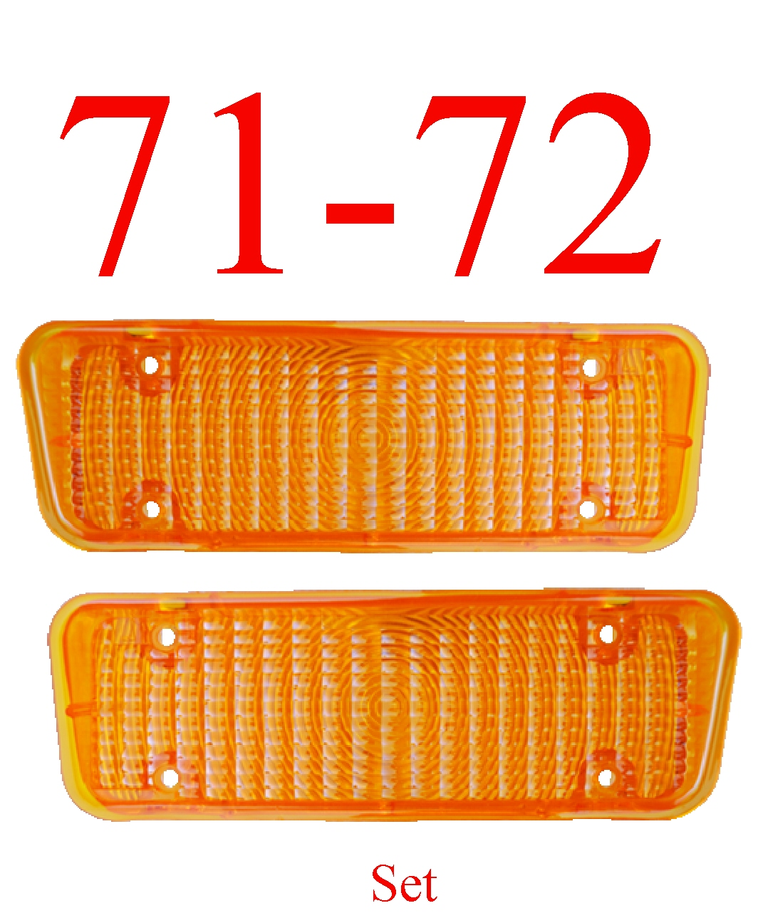 71-72 Chevy 2Pc Amber Parking Light Set L&R